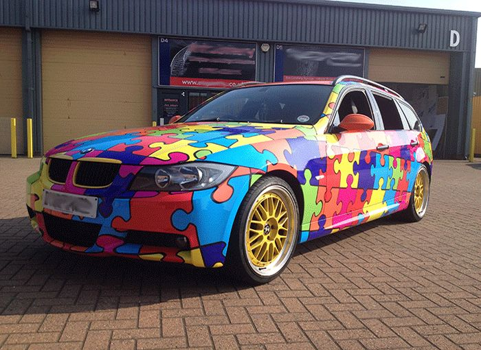 CAR WRAPS BMW 3 Series Puzzle Pattern Vehicle Lettering