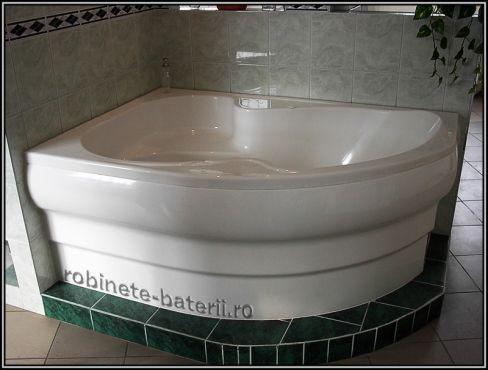 Cada baie pe colt Nancy 150 x 105 cm din compozit marmura ,