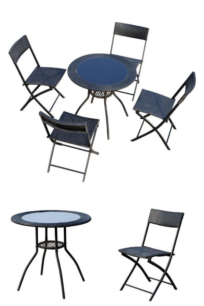 Black Rattan Furniture Set Balcony Garden Deck Round Table