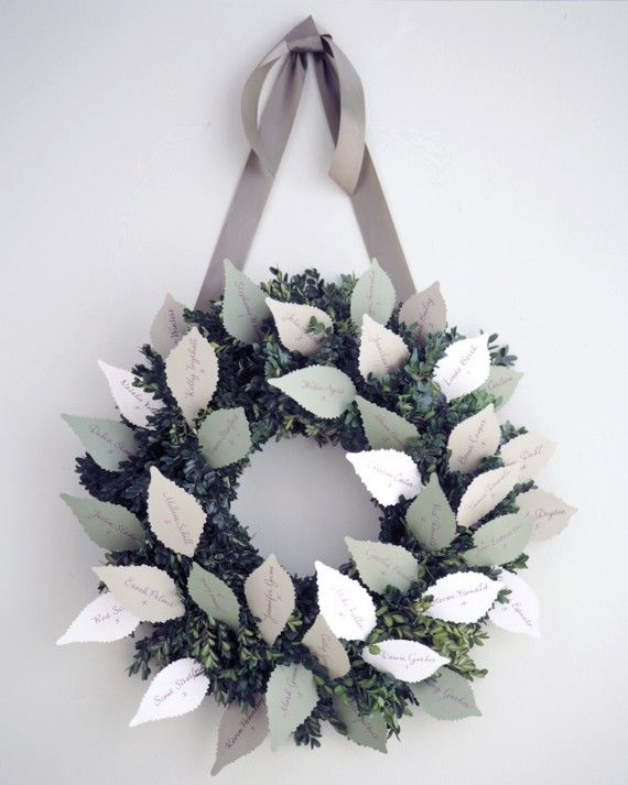 Wreaths are not only a symbol of the holiday season, but also of unending love. To make this seating chart, download our template, trace the leaf shapes onto sturdy colored paper, and cut them out with decorative paper edgers. Then glue 22-gauge cloth-wrapped floral wire to the back of each leaf and insert it, in alphabetical order, into a 14-inch-diameter boxwood wreath. Hang the wreath with ribbon.