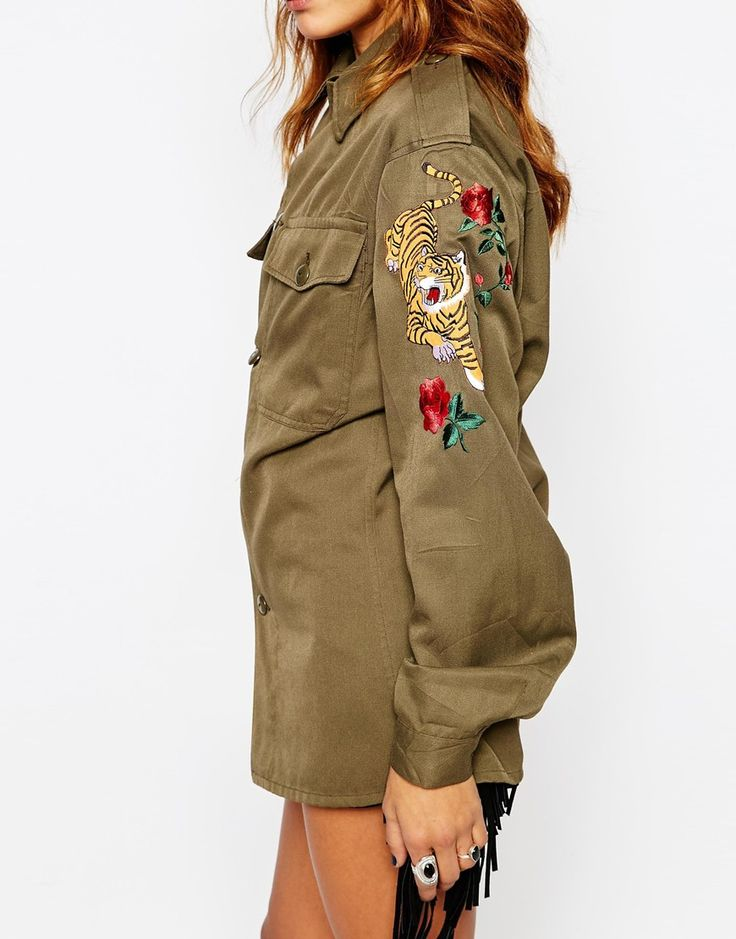 Image 3 of Milk It Vintage Festival Military Shirt With Tiger Patch Arm Detail