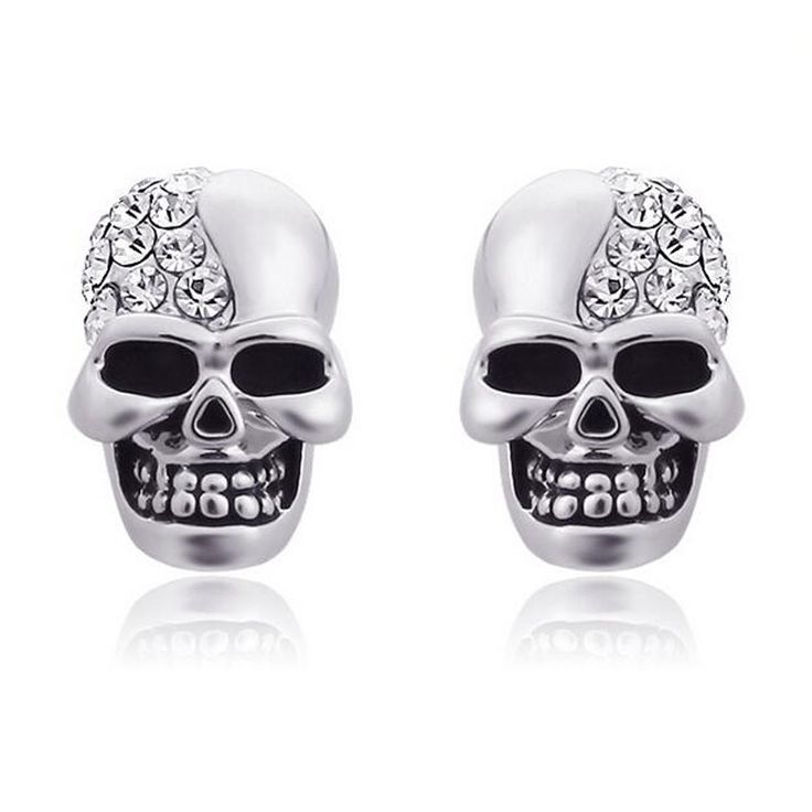 2017 New Punk Rock Skull Head Stud Earrings White Gold Plated Skeleton Crystal Earrings for Women Girls Fashion Jewelry