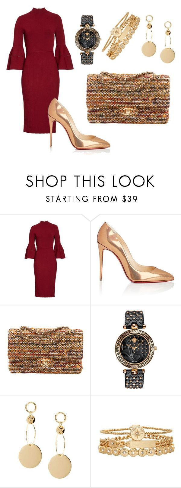 """""""Red & Gold Morning"""" by acaguiar on Polyvore featuring Lela Rose, Christian Louboutin, Chanel, Versace and Treasure & Bond"""