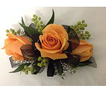 Corsage with Black Ribbon & Orange Roses