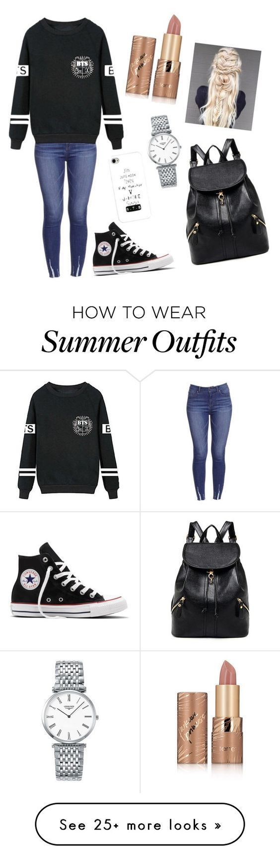"""""""Army Outfit ❤️Bts"""" by celia-ferreira-1 on Polyvore featuring Converse, Longines, tarte, outfit and bts"""