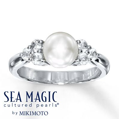 Cultured Pearl Ring Natural Sapphires Sterling Silver $229.99 Love it! I would buy it for myself if i could. :)