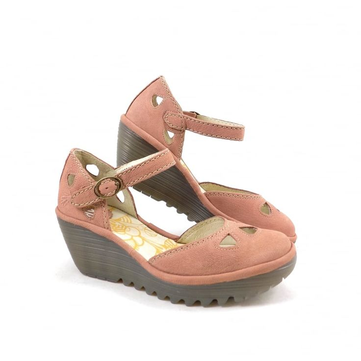 Fly London Yuna Wedge Sandals with Closed Toe in Rose | rubyshoesday