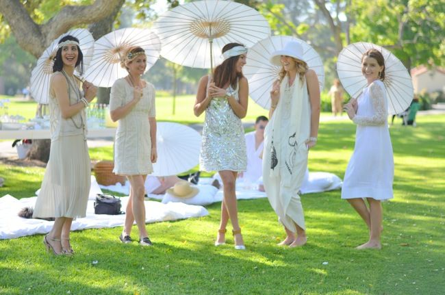 Fun Summer Party Wear All White Parisian Style Parasols For The Ladies Girls Hire A