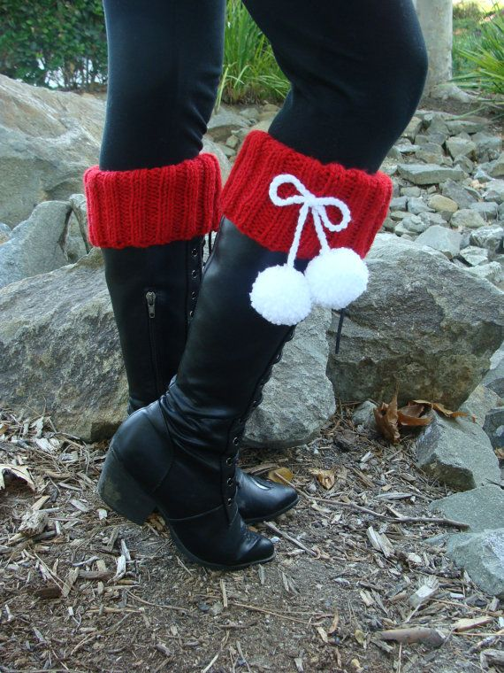 PATTERN 134: Knit Santa Boot Cuffs with Pom-poms by IKnit4aCure