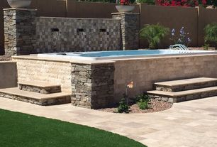 Transitional Hot Tub with Fence, Raised beds, Fountain, Pathway, exterior tile floors