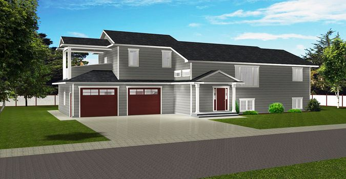 House plan 2016975 modified bi level with upper deck by Modified bi level plans