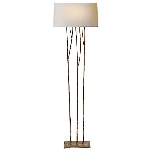 As though sprouting from a flat metal stand, the Aspen Floor Lamp by Visual Comfort stands tall as an alluring blend of organic and industrial design. Its sculpted metal framework (featuring three separate stems) culminates in a seamless Natural Paper shade that, once lit, accents the fixture as it fills the area with a captivating warm glow.
