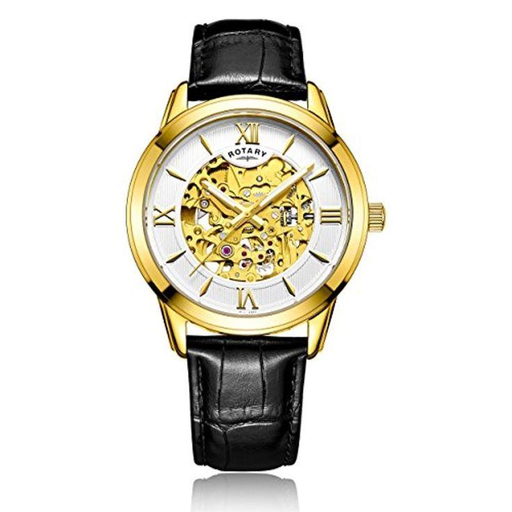 Rotary - GS00652/21 - Affichage Analogique - Bracelet Cuir - Noir - Cadran - Argent - Hommes 2017 #2017, #Montresbracelet http://montre-luxe-homme.fr/rotary-gs0065221-affichage-analogique-bracelet-cuir-noir-cadran-argent-hommes-2017/