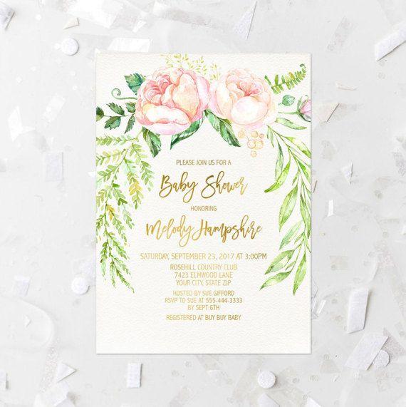 Printemps fleuri bébé douche Invitation imprimable Floral rose pour bébé douche Invite Spray Rose Baby Shower bébé saupoudrer Couple Baby Shower 262
