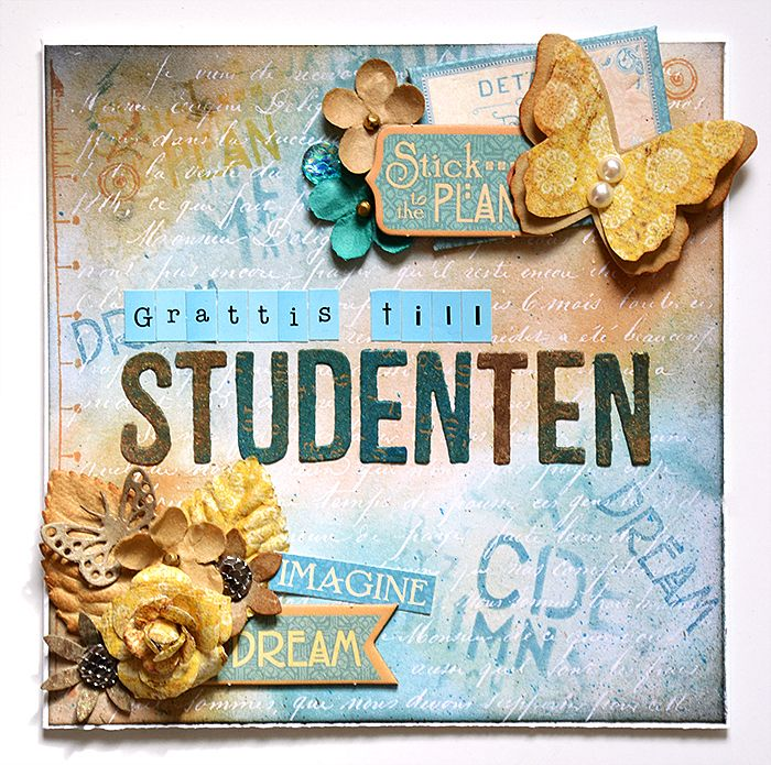 Graduationcard with Tim Holtz Paper Stash Resist by Helens Color Life