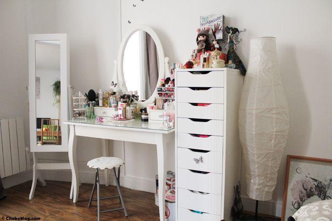 coin makeup chokomag blog beauté coiffeuse ikea tiroirs alex et miroir range bijoux