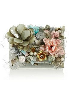 Marchesa Marisol floral-embellished suede clutch | NET-A-PORTER if i lose my mind one day and had a couple of grand in my perfectly beautiful boho bag that i spent a whooping $63.00 on, and let's say i saw this beauty. this piece of art. i would buy it. and i wouldn't regret it because i would use it in some way every single day of my life. Marchesa rocks.