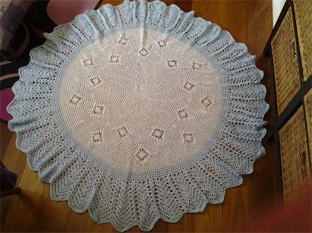 Crochet Baby Blanket Multi blue/white with blue border 130cm diameter   Frilly Daisy   madeit.com.au