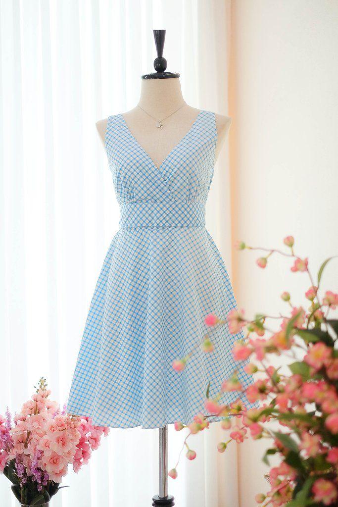 2925ffb123f9 Blue check vintage dress - KEERATIKA MY LADY