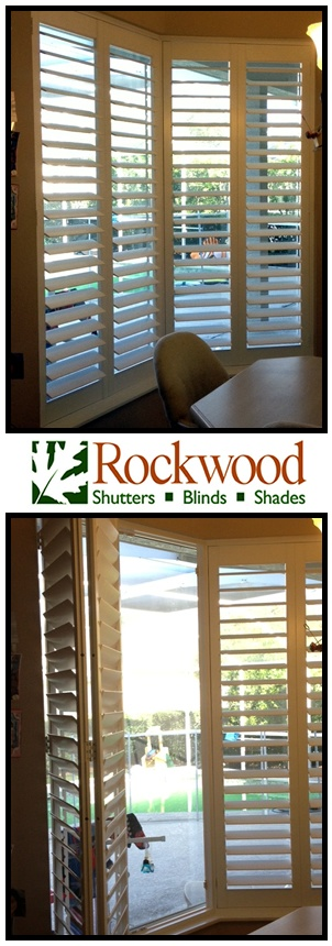 Bay Window Treatment Solution - Clearline Wood Shutters with 3 1/2 inch louvers and the bifold option.  #WindowTreatment #Shutters