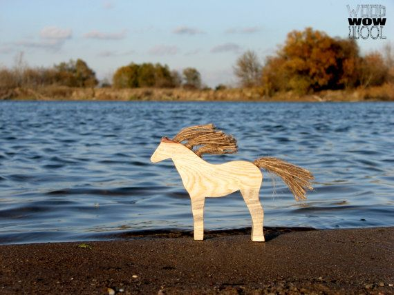 Wooden horse sculpture toy primitive art natural by WoodWowWool