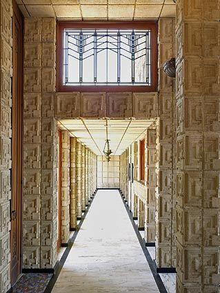 "Frank Lloyd Wright's ""textile block"" Ennis House circa 1924 in Los Angeles."