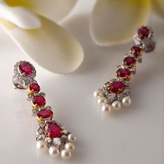ruby diamond and pearl earrings - saffron art jewel auction