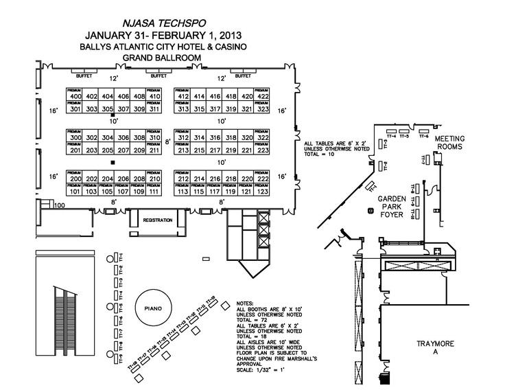 Techspo 2013 floor plan bally 39 s atlantic city xtel for Trade show floor plan design