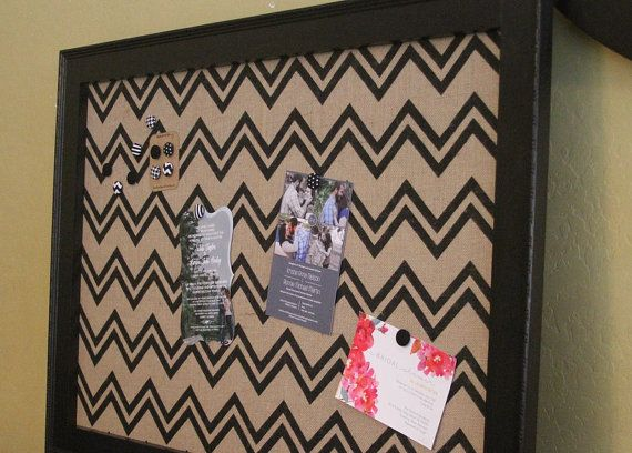 "Framed Fabric Magnet Board - Extra Large 41""x29"" Magnetic Bulletin Board XL Memo Board Wedding Kitchen Bulletin board Chevron Burlap"