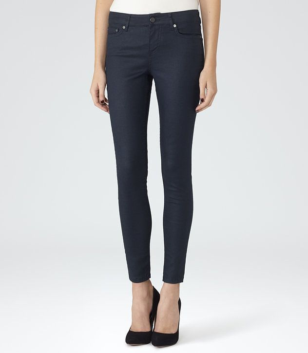REISS - STEVIE COATED LOW-RISE SKINNY JEANS