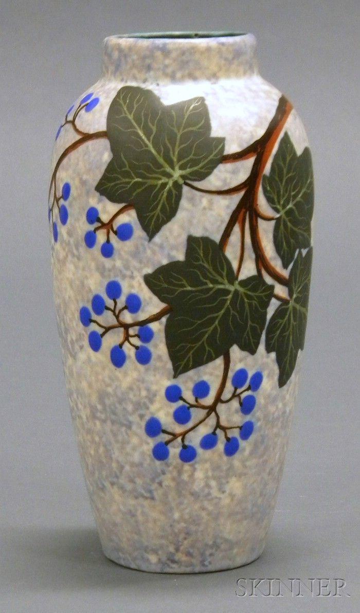 Louis Dage Art Deco Pottery Vase Decorated earthenware France, c. 1925