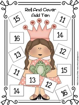 """Your students will apply their knowledge of counting from ten with this activity.After rolling the number cube, students will add ten to the number.  Find the corresponding number on the sheet and cover it with a theme-related manipulative, or color with a dot marker!If you like this freebie, please consider giving feedback!Looking for more fairy tale fun?  """"Fairy Tale Friends Personalized Reader"""" can be found in my store for just $1.00!"""