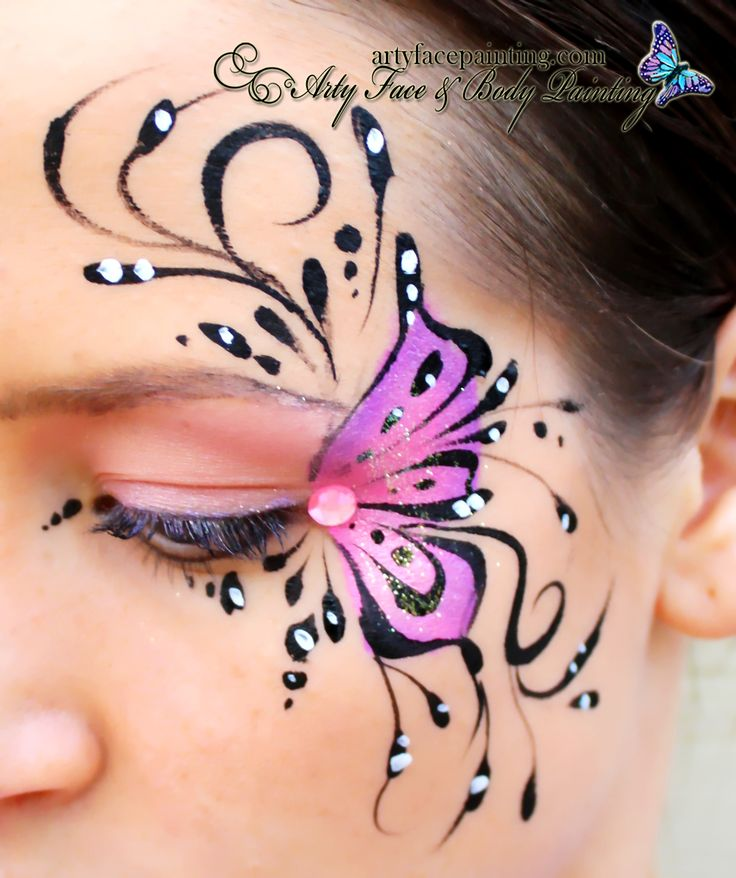 Vlinder oogmasker - Butterfly Face Painting www.hierishetfeest.com