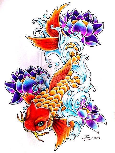 tatouage basé sur une carpe koï