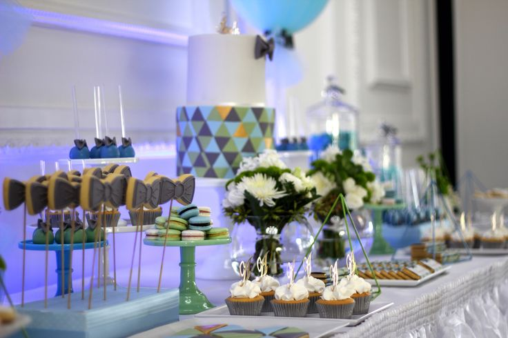 A blue and green themed candy buffet for a beautiful baby boy's Christening