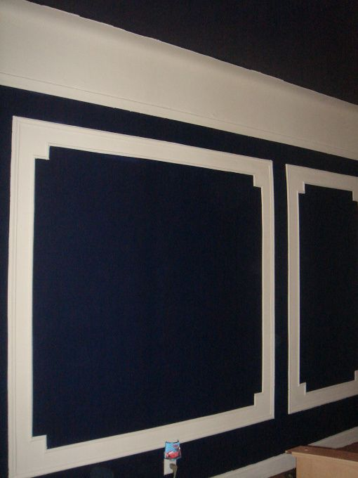 Navy Bedroom   I Could Stencil This Moulding Pattern Under The Chair Rail!  Fake It