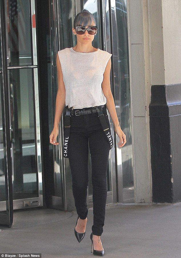 Model-esque: Nicole Richie shows off another chic outfit including a pair of Chanel braces. The socialite is in New York to promote her new reality show - Candidly Nicole