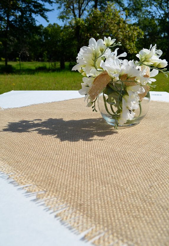 """Burlap Table Topper,  24"""" x 24"""" Natural Burlap Table Square,  Rustic Wedding Decor by Splendid Events on Etsy"""