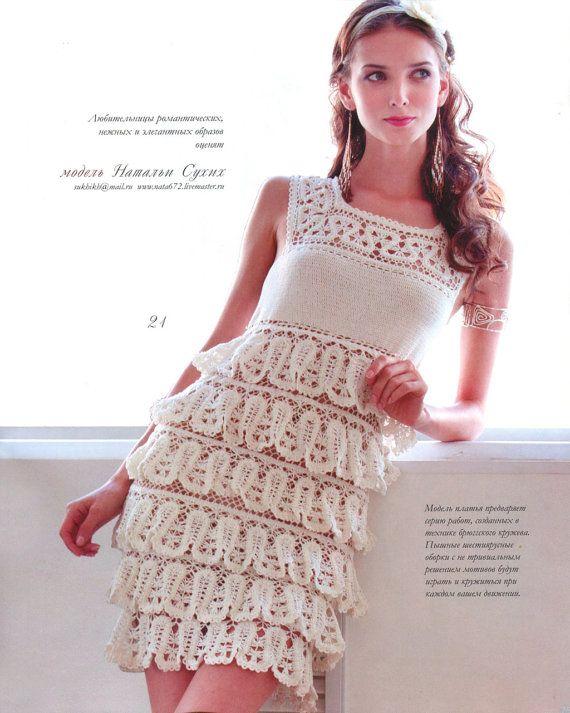 Patrones de ganchillo vestido de encaje irlandés top falda Por Moda sneg78