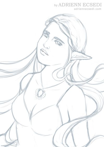 I will challenge fantasy portraits again this year. For starters here is a sketch. I call her Charlotte, I don't know why but that name just suits her. #sketch #drawing #fantasyportrait #elf