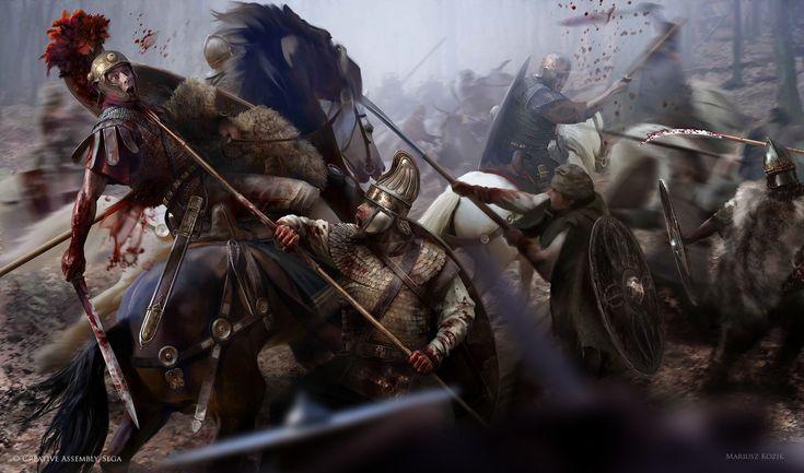 Blood & Gore (Auxiliary VS Dacian), Mariusz Kozik on ArtStation at https://artstation.com/artwork/blood-gore-auxiliary-vs-dacian
