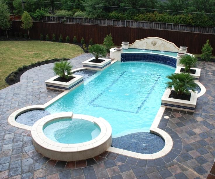 The Awesome Pool Is Outlined In Cantera Stone And