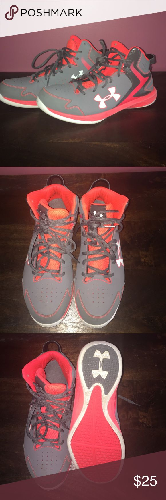 Basketball High Tops - Under Armoir Worn for only one season, well kept and clean Under Armour basketball shoes. Women's size 10, Men's size 8.5 - would make a great pair of basketball shoes for those starting for their seasons now. Under Armour Shoes Athletic Shoes