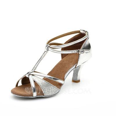 [15.22 €] Femmes Similicuir Pailletes scintillantes Talons Sandales Latin avec Lanière en T Lanière de cheville Chaussures de danse
