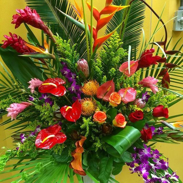 Shop Silk Bird Of Paradise And Anthurium Tropical: Alter Arrangement Of Torch Ginger, Anthurium, Dendrobium