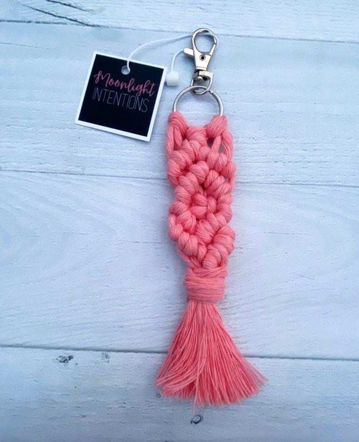 Pink Handmade Macrame Keychain/ Cute Keychains/ Best