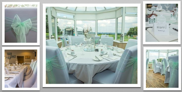 Mint green colour schemed venue dressing. White chair covers and mint green organza sashes. You can hire venue dressing like this at Natalija.Co Event Planning, find us on facebook, or visit our website, www.natalija.co.uk