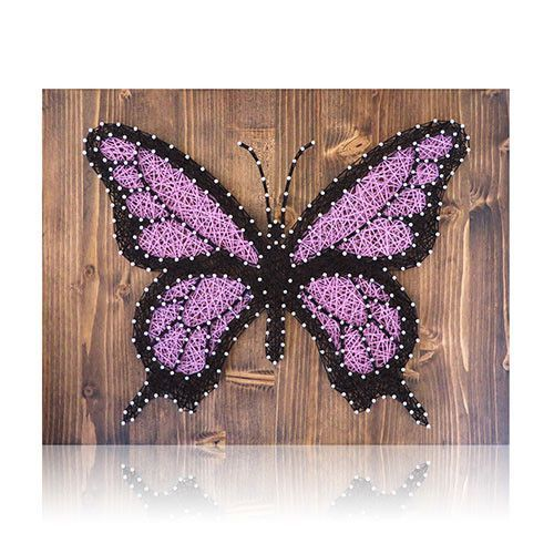 One-of-a-kind Butterfly String Art for your home that you create yourself. Great gift idea for those crafters you know. Or do-it-yourself for a friend. Materials: The DIY Kit's 16″ by 12″ wood board i