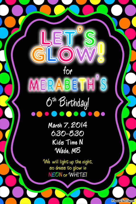 Neon Glow in the Dark Inflatable Party Invitation by MemoriesToo, $15.00