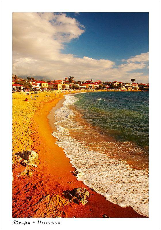 Kalogria Beach near by de village of Stoupa, located in de southeast part of Messinia region, Peloponnesus_ Greece